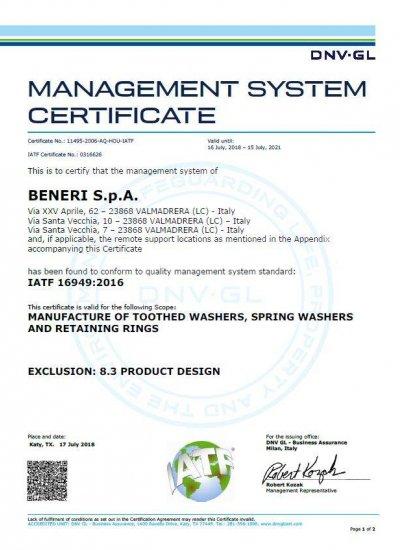 certificazione ISO-TS 16949 2016 Beneri